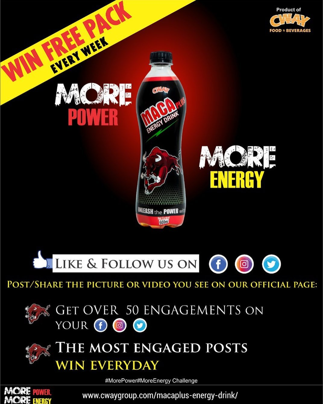 Join the #MorePowerMoreEnergy Challenge and Win Free Packs.