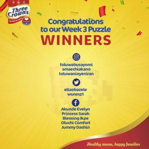 Winners of Three Crowns Milk Puzzle Announced.