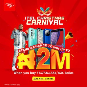 Loads of Cash Prizes For Grabs in itel Mobile Christmas Carnival.