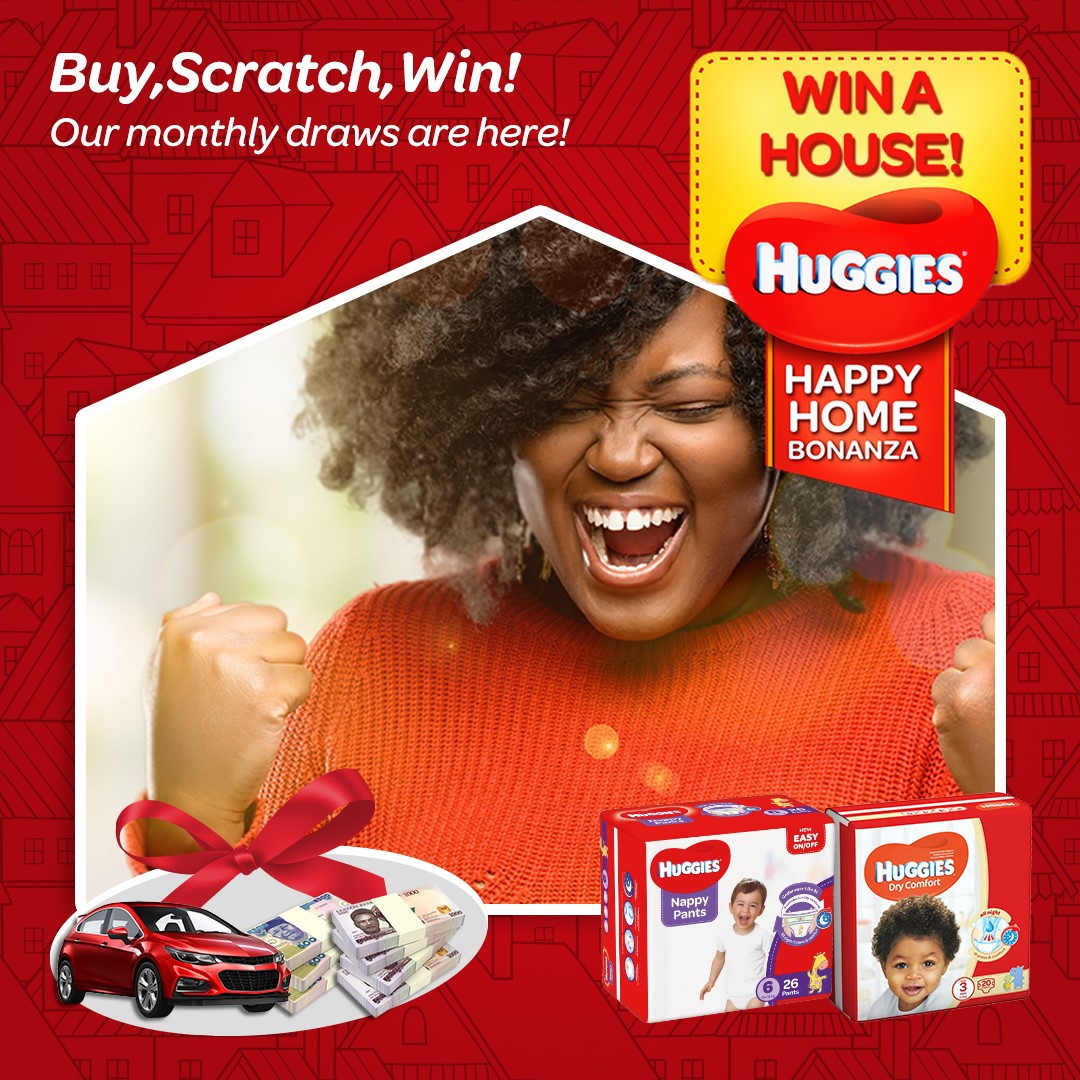 Buy, Scratch and Win a House in Huggies Happy Home Bonanza.