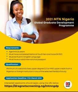 Join the 2021 MTN Nigeria Global Graduate Development Programme.