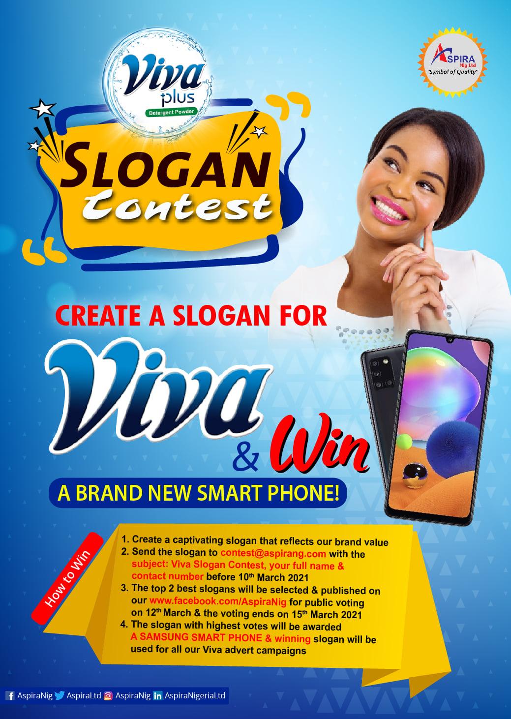 "Aspira Nigeria presents, ""Viva Slogan Contest"", Win a Smartphone."