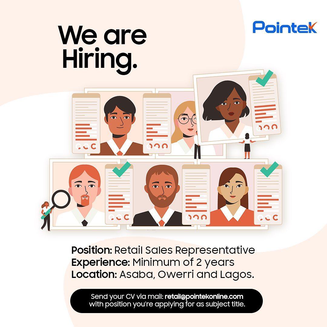 Pointek is Hiring Sales Representatives. Apply Now!!!