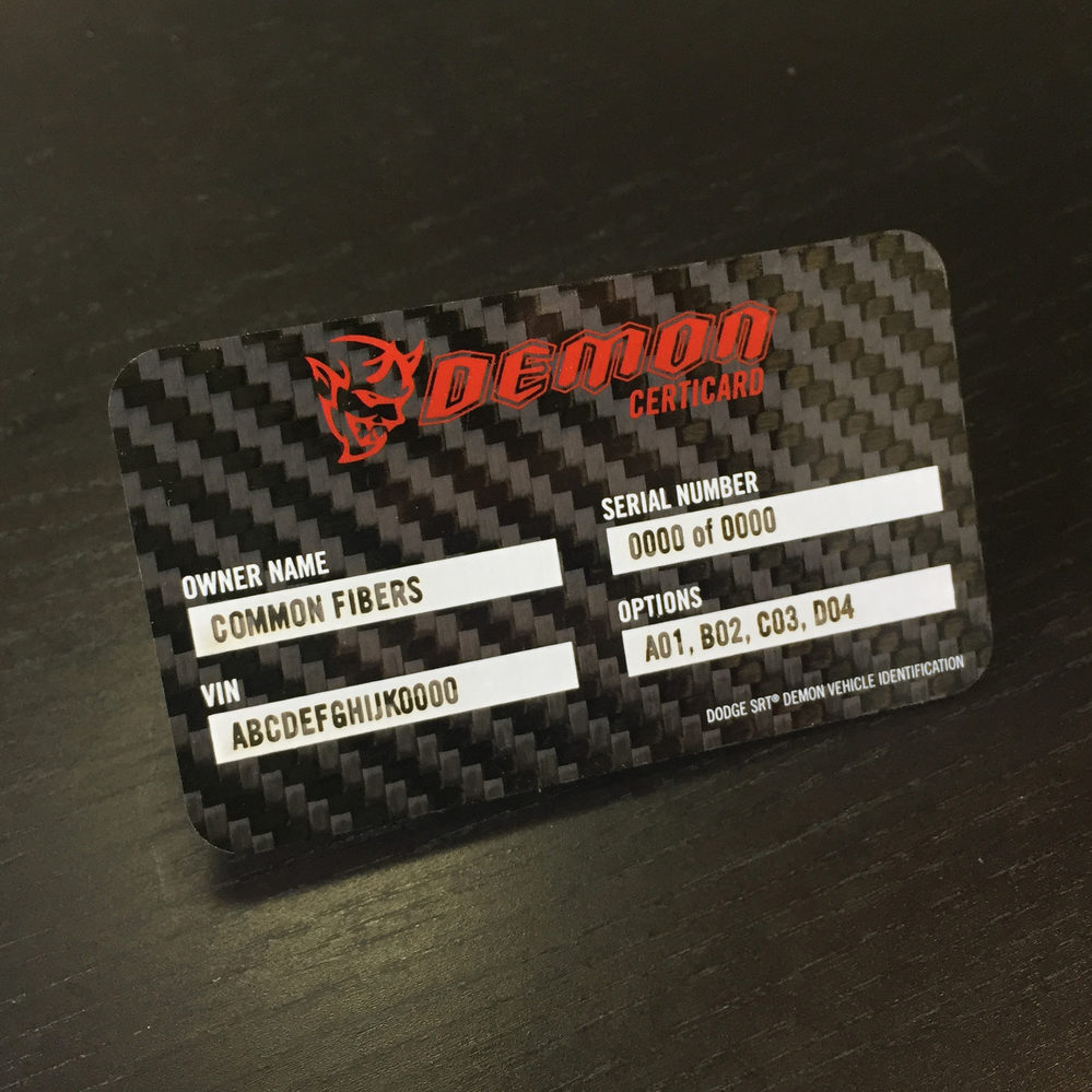 Common Fibers - Carbon Fiber ID & Membership Cards for the Dodge Demon