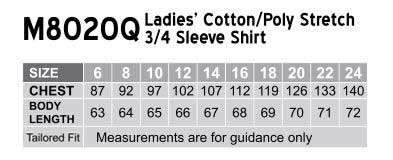 M8020Q Women's Cotton/Poly Stretch 3/4 Sleeve Shirt
