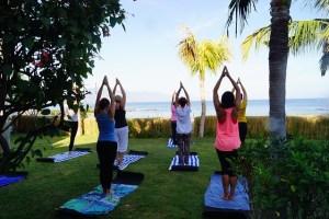 Women's on the yoga class