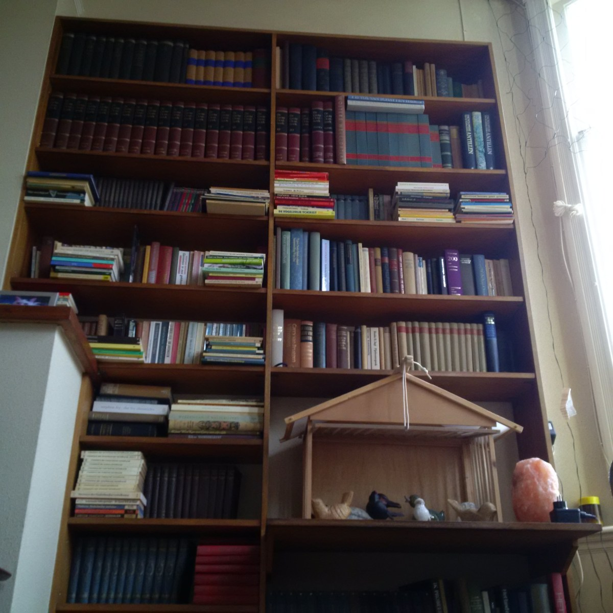 dark wooden bookcase filled with books and an ornamental bird cage