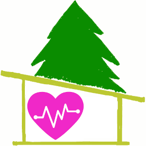 The Healing House logo drawing pine tree, cabin and pink heart symbol with a pulse