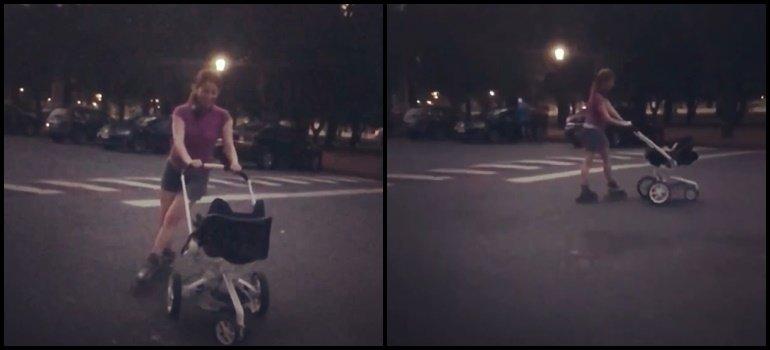 ¡Re canchera! El video de Agustina Kämpfer paseando a su bebé en patines