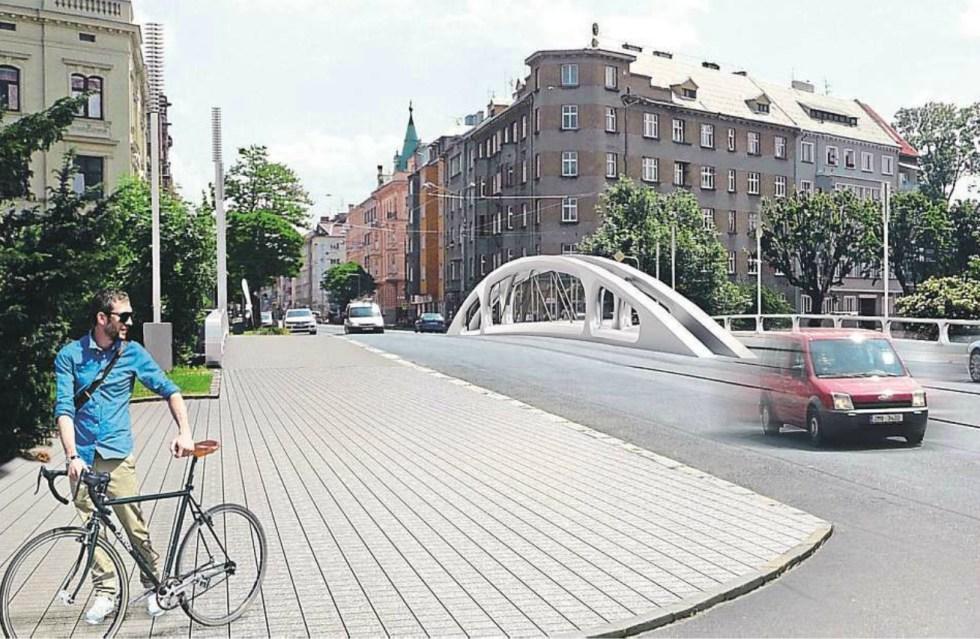 Most přes Moravu na Masarykově třídě podle návrhu architektonické kanceláře DRNH