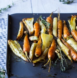 Christmas honey roast root vegetables with Garlic and Thyme