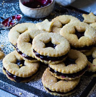 Shortbread and blackcurrant biscuits