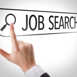 Apartment Manager Jobs Search in Search Bar with Finger Clicking Magnifying Glass to Launch Search