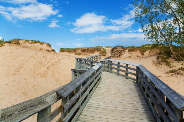 Commercial Wood Coatings Restored Wood Boardwalk Through Sand Dunes