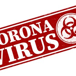 Coronavirus in red white font with biohazard symbol for Coronavirus safety tips for multifamily property managers blog