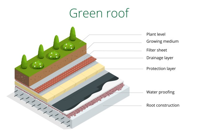 Diagram Showing What A Green Roof Is