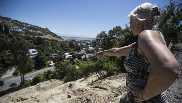 Christchurch woman stuck with 'massive unstable hillside'