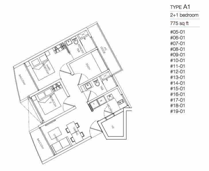 8M Residences 2 bedroom floor plan