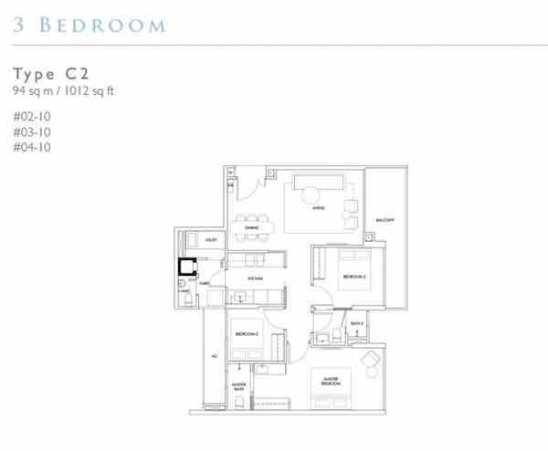Robin Residences 3 Bedroom Floor plan