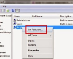 Set Password in Window 7 Settings