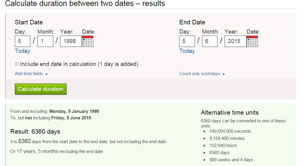 calculate difference between dates