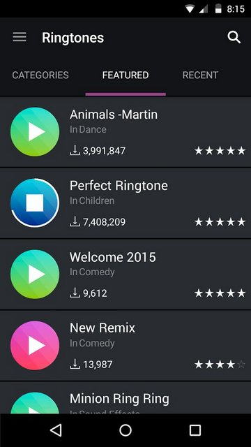 Zedge Collection of Ringtones
