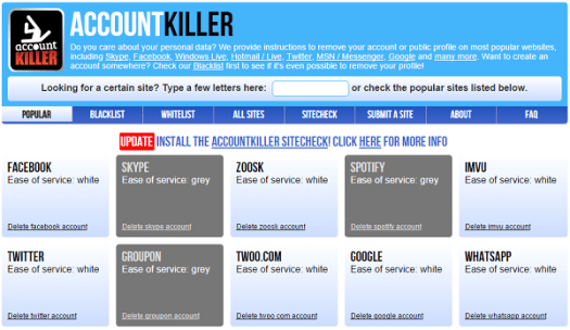 Kill Your Soical Profile Accounts Online with Accountkiller.com