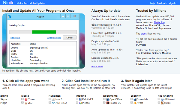 Ninite Download All Windows Software in One Click