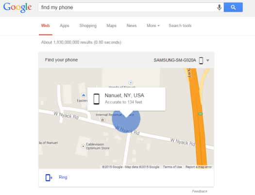 Find My Phone from Google Search
