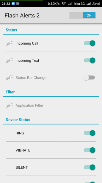 Turn on Android Flash Light on Incoming Call