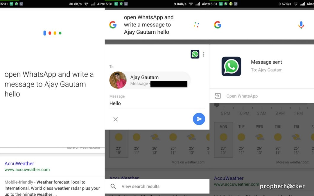 Send Message to Whatsapp User from Google Now
