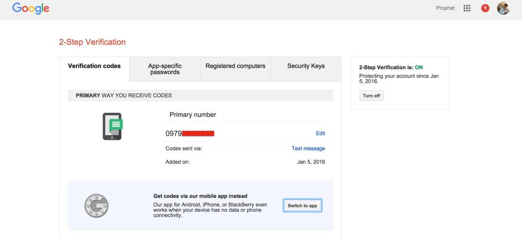 Two Step Verification in Google from Google Authenticator App