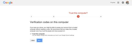 Two Step Verification in Google