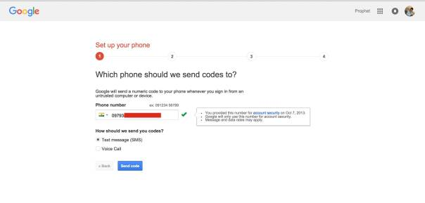Enter your Mobile Number for Two Step Verification in Google