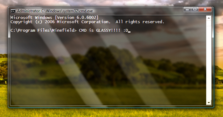 Make your Command Prompt Transparent in Window 7
