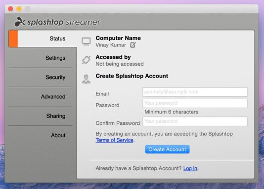 Create your Account on Splashtop Streamer app