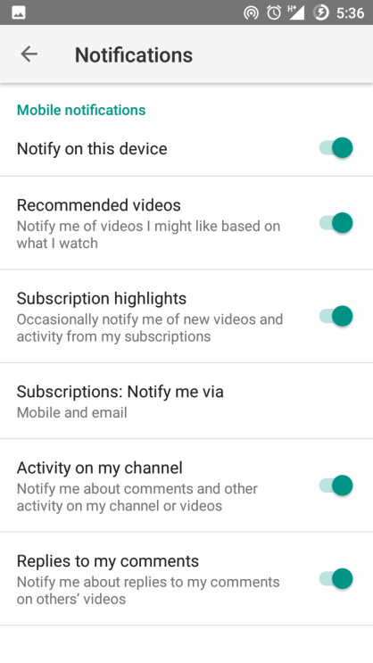 Youtube Android Notification Settings