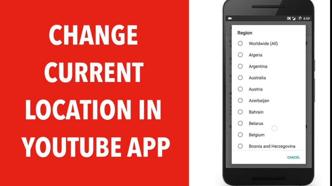 Change Country Location in Youtube Android App