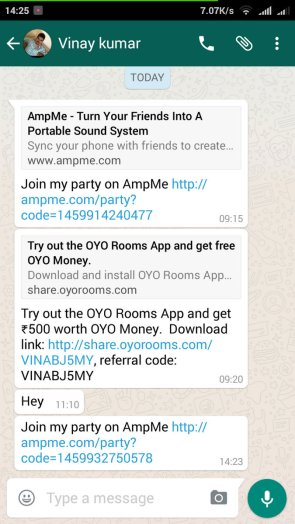 Open AmpMe Invite Code in Second Android Phone