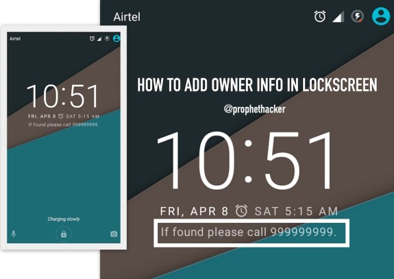 How to Add Owner info in Android Phone Lock screen Marshmallow