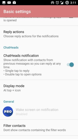 quickReply Android App Settings