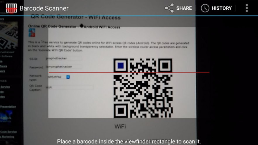 Scan QR Code from Barcode Scanner app