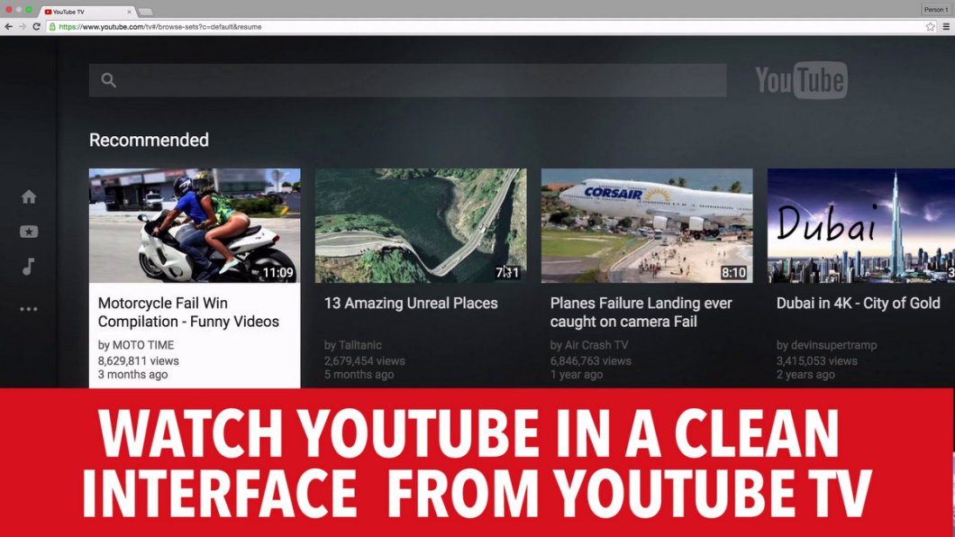 Youtube.com/Tv - Get Clean Interface of Youtube in your PC