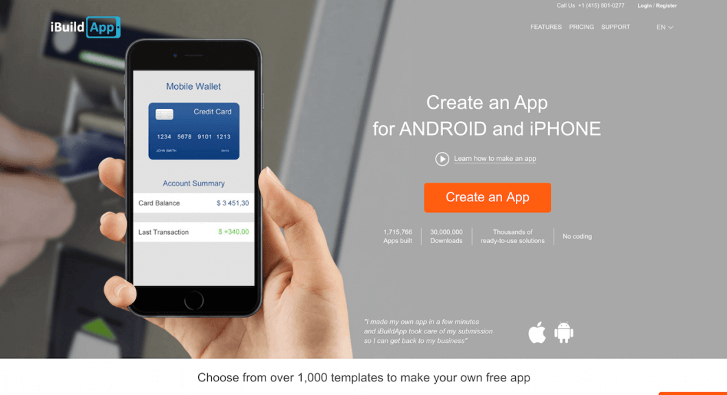 ibuildApp create android apps in minutes without coding