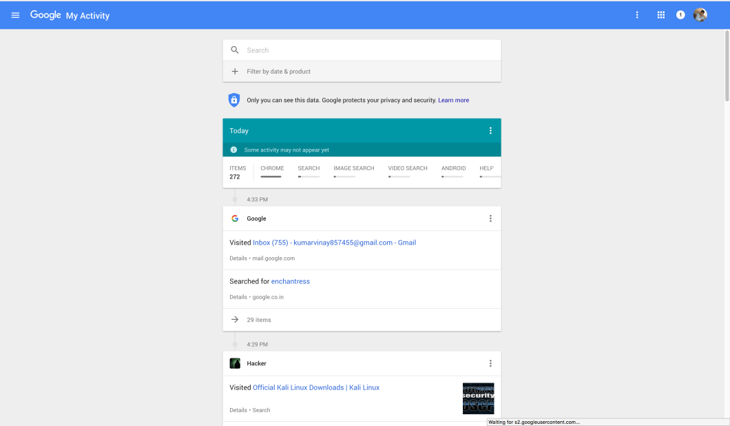 View all your Google WEB Activity