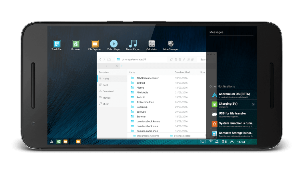 This android app turn your Android Phone into a Full Desktop like Windows and Linux