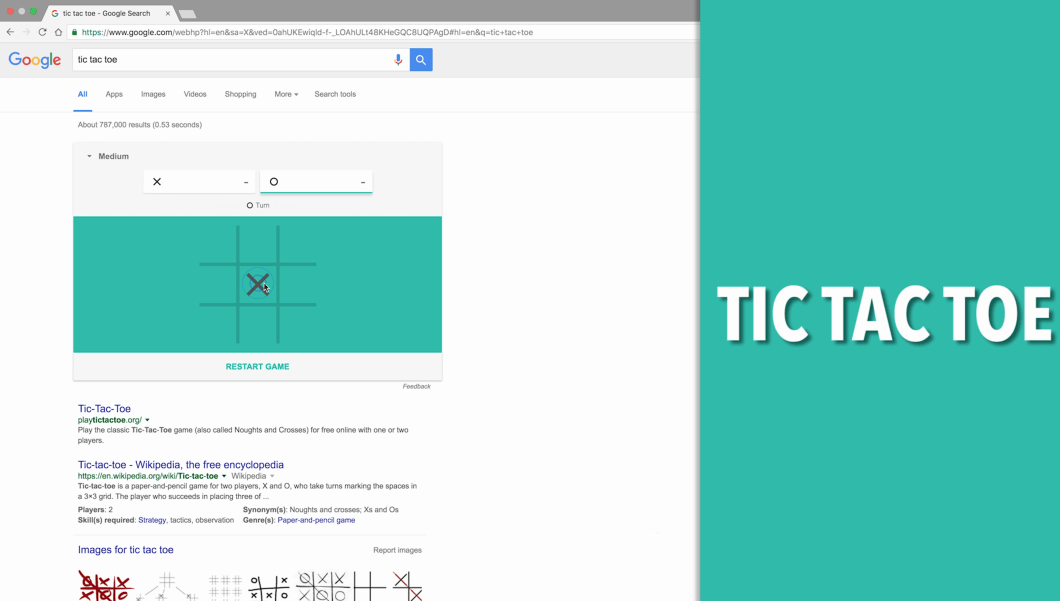Tic Tac Toe Google Search Game