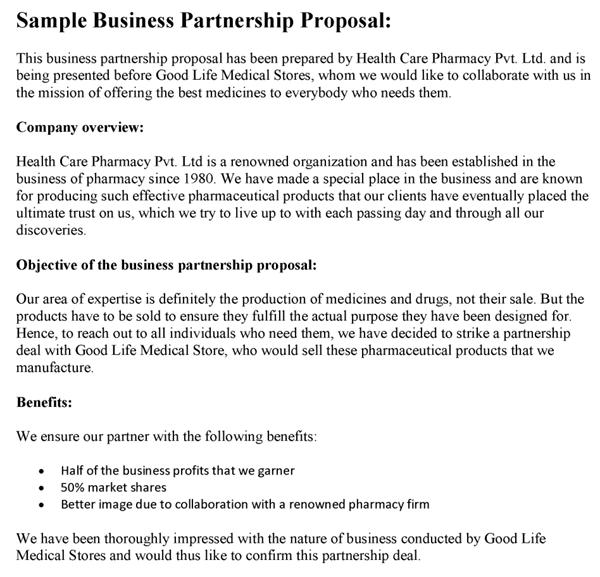 Business Partnership Proposal Template. Proposals Proposal Sample