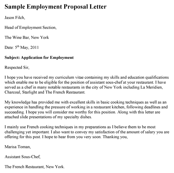 Employment Proposal Letter Template