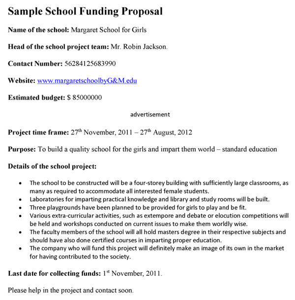 Doc585615 Funding Proposal Template Funding Proposal Template – Sample Funding Proposal